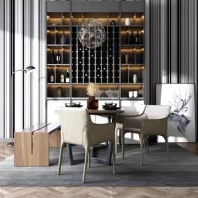 现代风格餐桌椅组合3D模型【ID:836162840】
