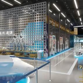 工業風飛機航天展廳展館3D模型【ID:953556738】