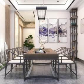 新中式茶室3D模型【ID:649940173】