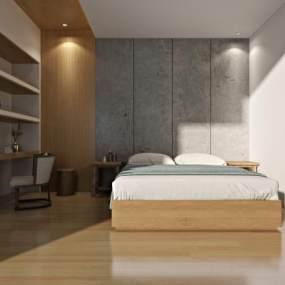 新中式民宿客房3D模型【ID:732860358】