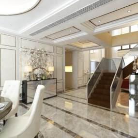 新中式客厅3D模型【ID:536072046】