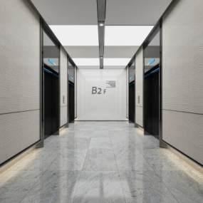 现代电梯间3D模型【ID:948347532】