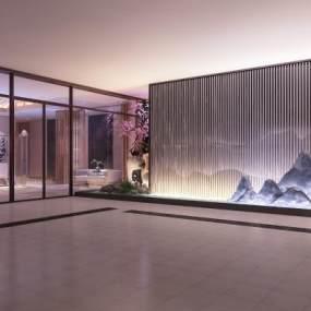 新中式办公大厅3D模型【ID:943404243】