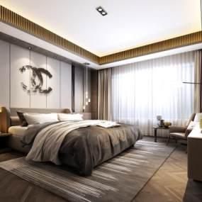 現代臥室3D模型【ID:534784234】