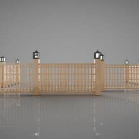 新中式风格围栏3D模型【ID:346961602】