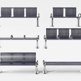 现代不锈钢金属公共排椅3D模型【ID:732103077】
