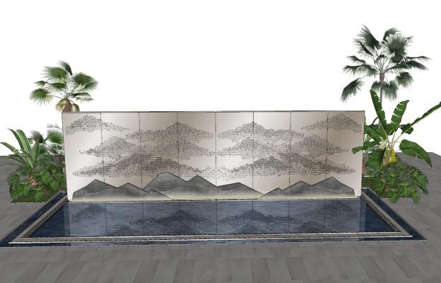 新中式山水景墙5款SU模型【ID:752083012】