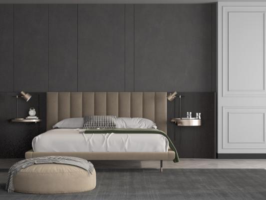现代卧室双人床3D模型【ID:853613759】