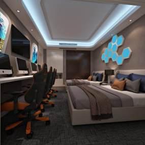 现代酒店电竞房 3D模型【ID:742335306】