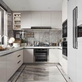 現代廚房3D模型【ID:545797383】