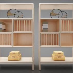新中式风格书柜3D模型【ID:144348168】