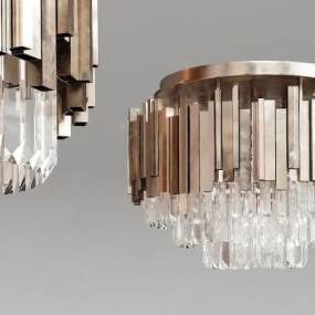 現代簡約復古金屬水晶吸頂燈3D模型【ID:850647040】