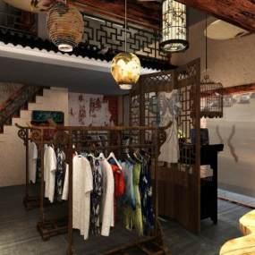 中式服装店,旗袍店3D模型【ID:132694070】