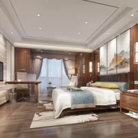 新中式酒店客房3D模型【ID:732158377】