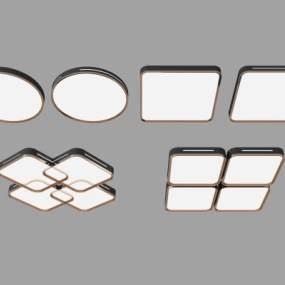 現代吸頂燈組合3D模型【ID:748202883】