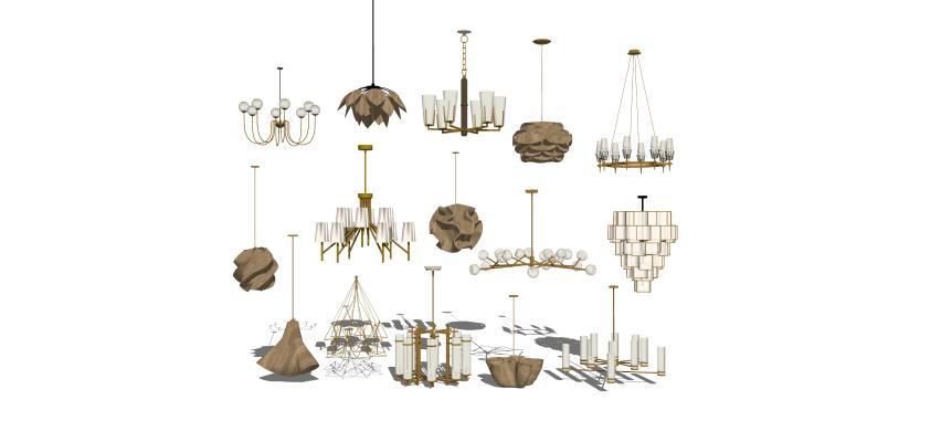 現代吊燈組合1SU模型【ID:347731892】