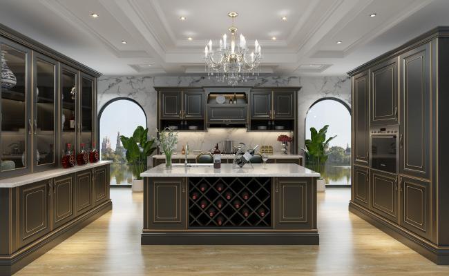 法式橱柜厨房3D模型【ID:532687376】