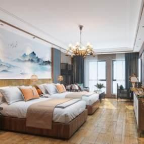 新中式酒店客房卧室3D模型【ID:743408308】