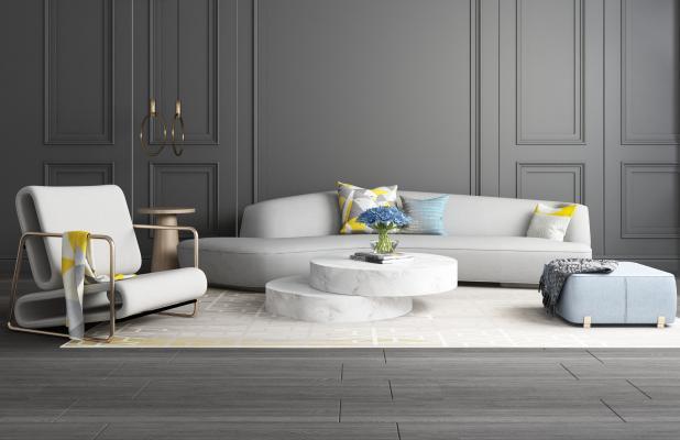 现代黑白灰沙发组合3D模型【ID:653870725】