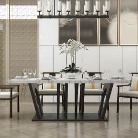 新中式餐桌椅组合3D模型【ID:844377801】
