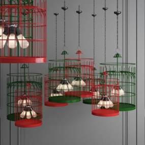 新中式金属鸟笼吊灯 3D模型【ID:741388894】