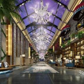 新中式酒店大堂3D模型【ID:753485021】