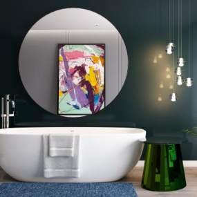 现代浴缸吊灯镜子组合3D模型【ID:635397407】
