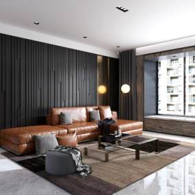 现代客厅沙发茶几组合3D模型【ID:530433082】