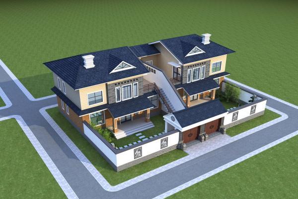 新中式�e墅�排3D模型【ID:142156933】