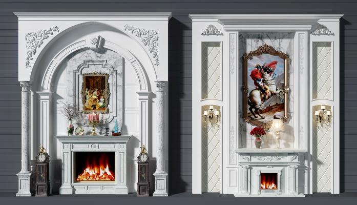 歐式壁爐背景墻組合3D模型【ID:332690636】