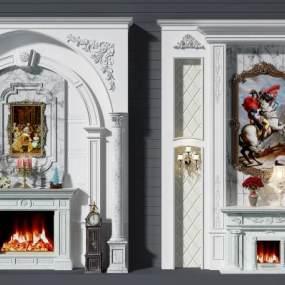 欧式壁炉背景墙组合3D模型【ID:332690636】