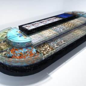 现代海鲜酒楼排挡鱼缸3D模型【ID:635458235】