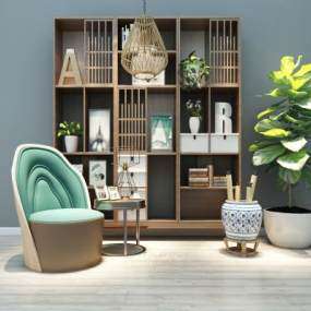 中式书柜休闲椅组合3D模型【ID:130625502】