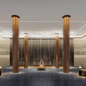 现代简约酒店大堂3D模型【ID:731447094】