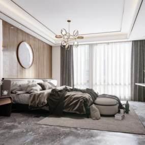 現代輕奢臥室3D模型【ID:546900241】