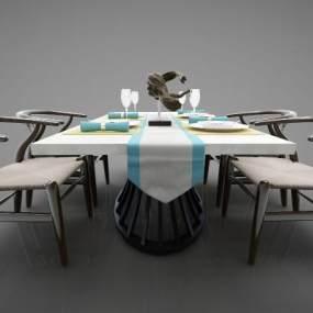 新中式风格餐桌3D模型【ID:844698835】