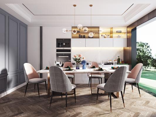現代輕奢餐桌椅組合3D模型【ID:744140152】