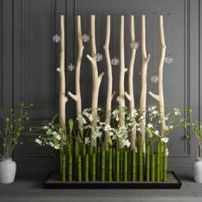 新中式花池干枝園藝小品組合3D模型【ID:242948542】