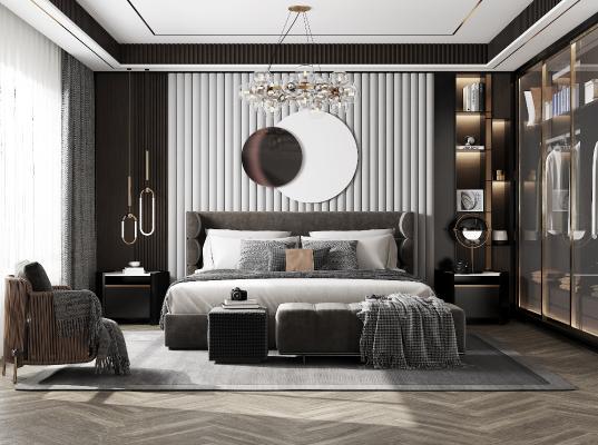現代臥室3D模型【ID:548761206】