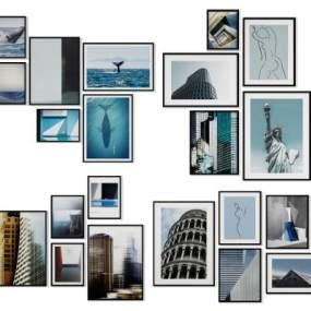 现代简约照片墙装饰画挂画组合3D模型【ID:235964904】