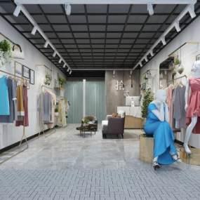 現代輕奢服裝店3D模型【ID:147278059】
