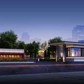 現代大門入口夜景3D模型【ID:152621474】