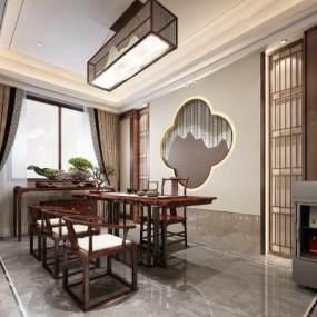新中式茶室3D模型【ID:647995139】