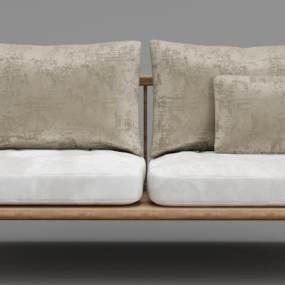 现代实木绒布沙发3D模型【ID:634775560】