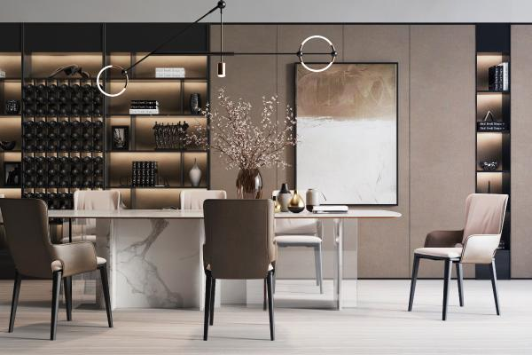 現代餐桌椅吊燈組合3D模型【ID:741388108】