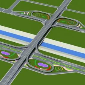 现代立交桥3D模型【ID:253033034】