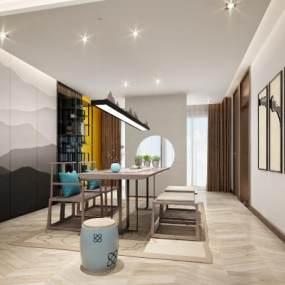 新中式茶室 3D模型【ID:641506102】