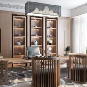 新中式茶室3D模型【ID:646574189】