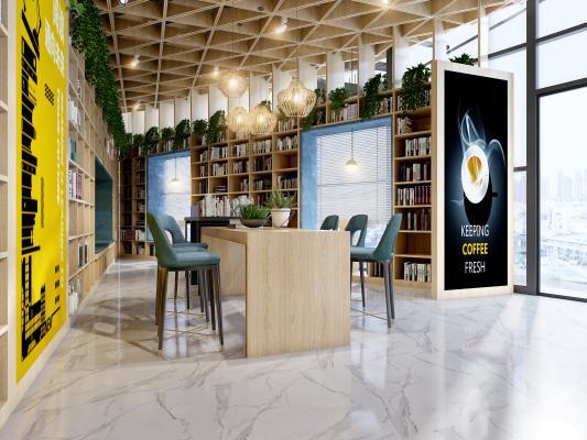 现代北欧书吧咖啡店3D模型【ID:942024832】