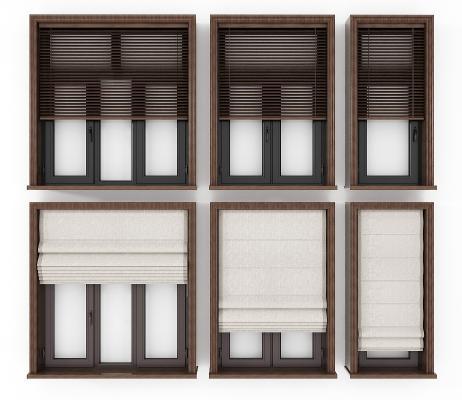 现代铝合金窗窗帘组合3D模型【ID:332764239】